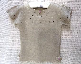 Toddler Girl Crew Neck Knit Pure Linen T-Shirt