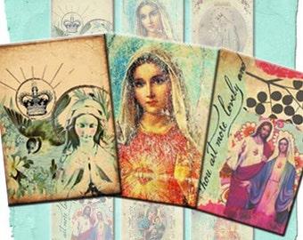 DIGITAL DOWNLOAD sofort Set 9 druckbare religiöse Heilige Karte Geschenk Tags - Jungfrau Maria religiöse Symbole - Original Kunst Collage