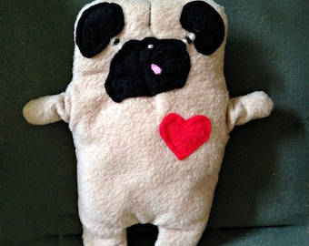 """Rudy ~ The """"Tongue Out"""" Pug Bummlie ~ Stuffing Free Dog Toy ~ Ready To Ship Today"""