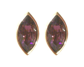 Marquise Faceted Amethyst Swarovski Crystal Earrings