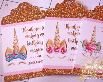 Favor Tags / Unicorns / Glitter / Gold / Double Sided / Favors / Thank You Tags / Birthday / Girl / Tags for Favors / Magic