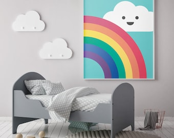 Cloud & Rainbow Nursery Poster Print Wall Art Home Décor. Baby, Nursery, Children, Kids Room
