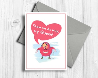 Uganda knuckles gift for her Printable romantic card Ugandan knuckles meme funny gift idea Do you know da wae Da way Show me de way my queen