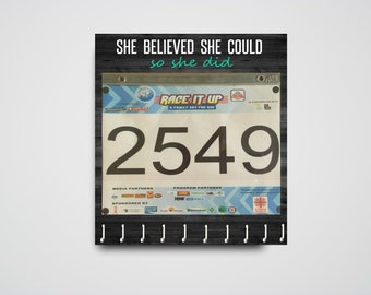 "Race Medal Holder /  Race Medal Hanger / Race Bib Hanger ""She Believed She Could So She Did"" Wood Wall Mounted Wood Organizer. CUSTOMIZATION"