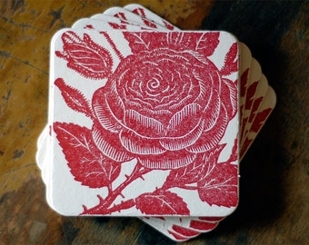 Ruby Red Rose Letterpress Coaster - Square - Set of 10 Hostess Decorations Wedding Favors Housewarming Gift