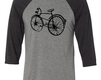 Bicycle T-shirt -THE BLACK BIKE-Bicycle Baseball Shirt-Road Bike T-shirt,Bike Gift, Mountain Bike Gift,gift for cyclists,commuter bike