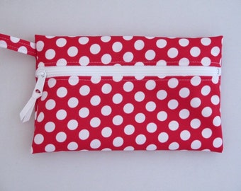 Polka Dot Zippered Pouch in Waterproof PUL