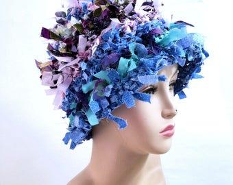 Crazy boho hat crochet hat hats for women funky hat rag hat statement hat cool crazy hat beanie cloche hat shabby chic denim hat