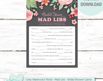 Mad Libs Bridal Shower Game Printable Grey Watercolor Floral, Instant Download, Flowers, Rustic, Country, Gray, Printable Mad Libs, 006A
