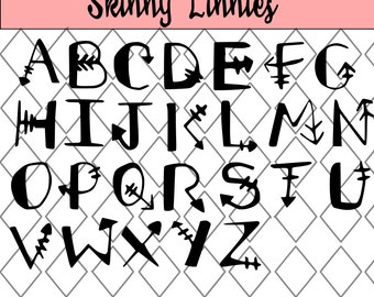 Tribal style Hand Drawn Font/SVG Alphabet  with arrow inspiration . Lower and upper case ( silhouette cricut etc)