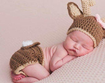 Baby Deer Hat with Diaper Cover Crochet Deer hat and Diaper Cover  Baby Animal outfit in Tan Color