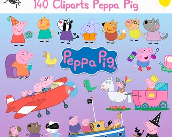 140 CLIPARTS - peppa pig - George Pig - Family Pig - PNG transparent