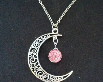 Silver crescent moon necklace with pink polymer clay shiny bauble - gifts for her