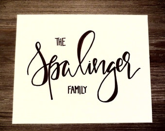 Personalized Last Name Print, 8x10, (Hand-lettered with permanent marker)