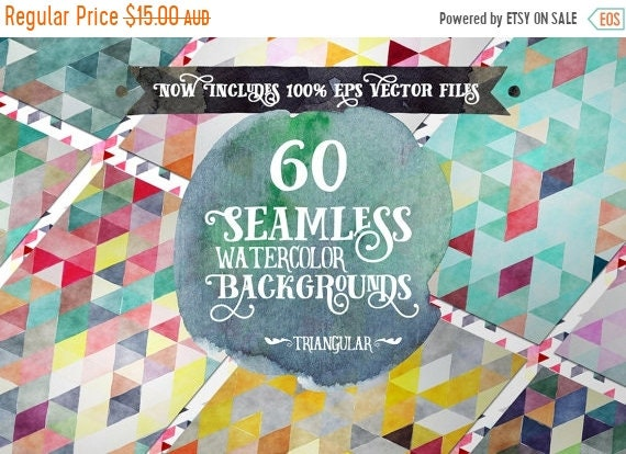 70% OFF Sale Digital paper Seamless Backgrounds - 60 Watercolor Triangles - Now with EPS Vector Files included