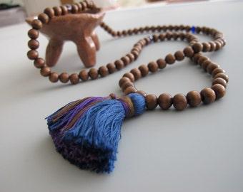 Chocolate Brown Tassel Necklace Mantra Wooden Meditation Beads Tassel Jewelry Indigo Denim Blue Men's Necklace Gift for Yogi Gift Yoga Lover