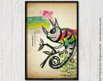 Chameleon Illustration Drawing Lizard Painting Quirky Art Vintage Large Wall Art Poster Whimsical Art Rainbow Dictionary Art Kid Room Decor