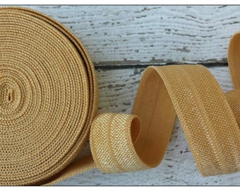 5/8 OLD GOLD Fold Over Elastic 5 or 10 Yards