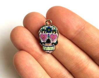 Rose Gold Plated Sugar Skull Charm - 1 piece - 252 -