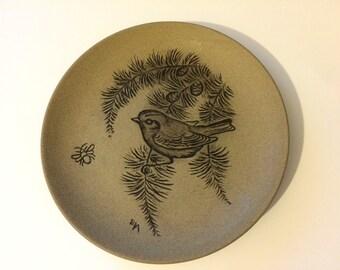 Barbara Linley Adams Poole Pottery - wildlife plate - 13cm stoneware - Bird in pine tree