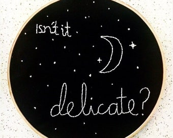 Black and White Delicate Lyric Embroidery Taylor Swift Lyric