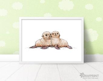 Seal nursery art twin baby gift - Seal animal wall art baby shower gift, seal nursery print twin nursery decor, seal pup ocean nursery art