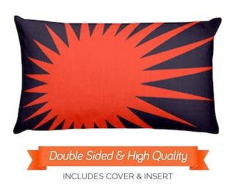 Sunburst Throw Pillow, Zig Zag Decorative Pillow, Toss Pillow, Modern Home Decor, Modern Throw Pillow, Abstract Throw Pillow, 20x12