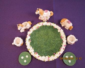Vintage Miniature Unicorn Tea Set
