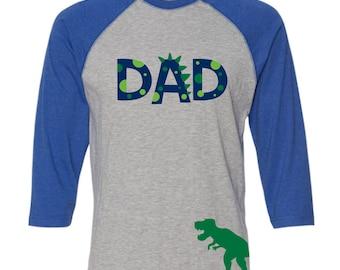 Dada-Saurus-Rex BLUE RAGLAN Dad Dinosaur Shirt Dadasaurus Rex Shirt Dad Dino Birthday Shirt Dad Dino Birthday Shirt