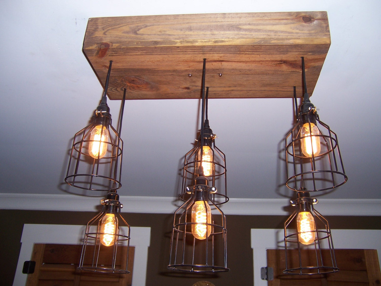 The farmhouse industrial cage chandelier light edison bulb zoom aloadofball Choice Image
