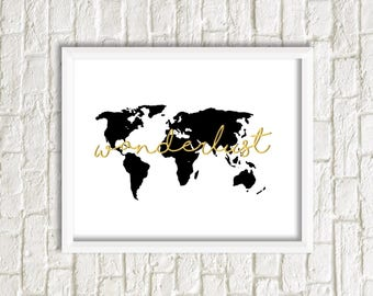 Wanderlust | Travel | World map | Digital print | Instant download | Gold | Black and white | Wall decoration | Bedroom decor | Boho
