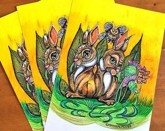 Thistle Magic A5 A4 digital prints Enchanted Forest Rabbits nature fairytale fantasy illustration animals Mythicalponez flowers summer art