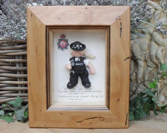 PERSONALISED POLICE GIFT, Female Retirement, Promotion, New Job, Birthday Framed Polymer Clay Characters