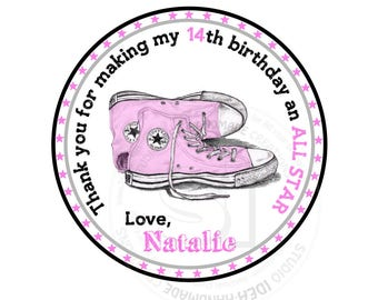 "Custom Printable  ALL STAR Birthday Tags- Pink or Blue All Star Sneakers Thank you 2.5"" Tag- Birthday DIY Personalized tags-Digital File"