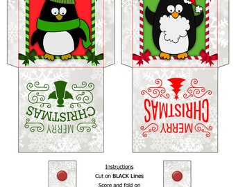Digital Printable Tea Bag Packet Wrapper Envelope Topper, Penguins, Merry Christmas Holiday download