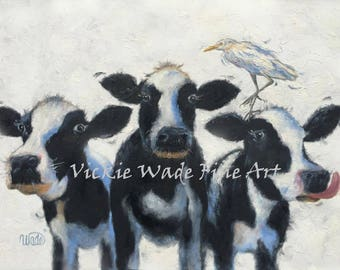 Cow Painting 18X24 inch animal ORIGINAL oil painting, cowbird, holstein cows, cattle egret,whimsical, bovine, portrait cows, Vickie Wade Art