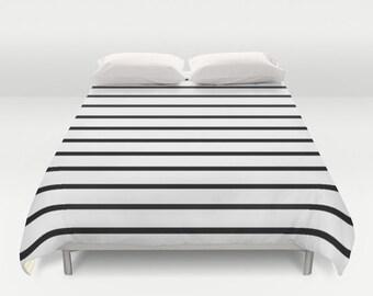 Striped Duvet Cover, Black and White Stripes, Twin Queen King Duvet, Striped Bedding, Kids Room Decor, Boys Bedding, Girls Bedroom Decor