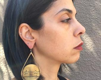 Burnside Bridge Earrings, Oregon Earrings, Bold Women, Portlandia, Contemporary Earrings, Etched earrings, Portland, Statement Piece, oregon