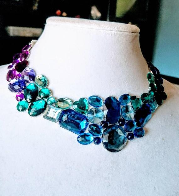 Twilight - rhinestone bling necklace, illusion necklace, rhinestone bib, floating necklace, rhinestone statement necklace