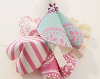 Paper Fortune Cookies Set of 24 Pink Paisley Print Bridal Shower Bridal Shower Favors Wedding Favors Paper Crafts Made To Order