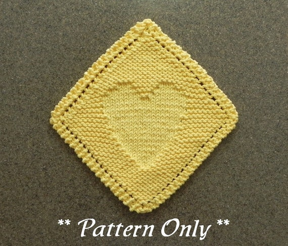 Diagonal Heart Knitted Dishcloth Pattern Valentines Day