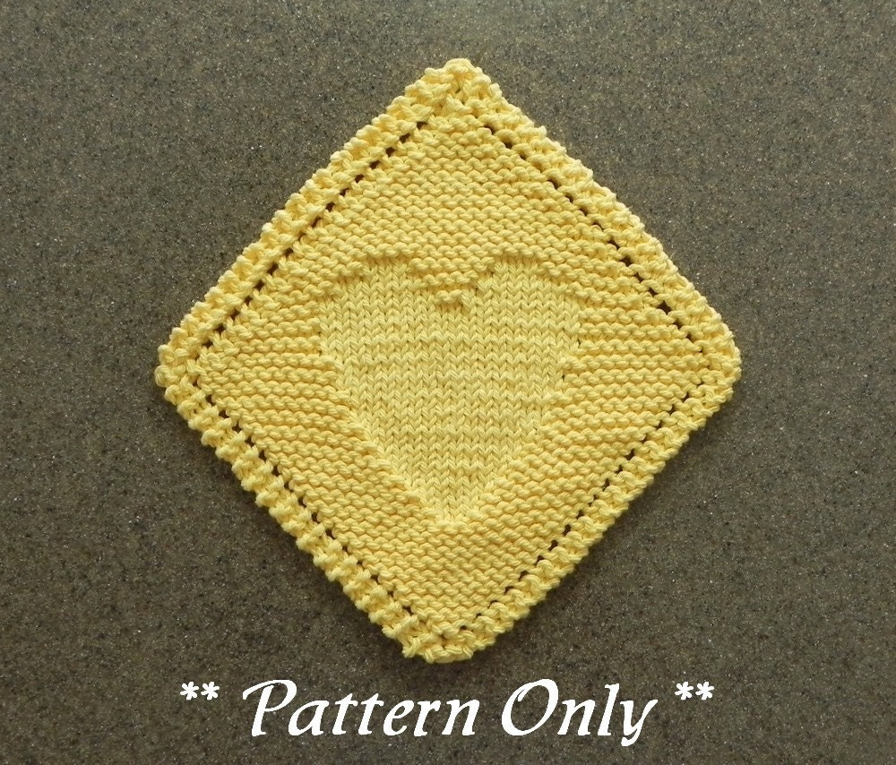 Diagonal HEART Knitted DISHCLOTH Pattern Valentine\'s Day