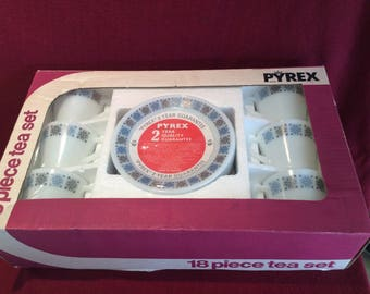 Pyrex JAJ Chelsea 18 Piece Tea Set circa 1960