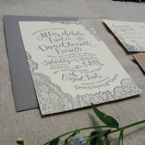 Vintage Lace Letterpress Wedding Invitation Sample