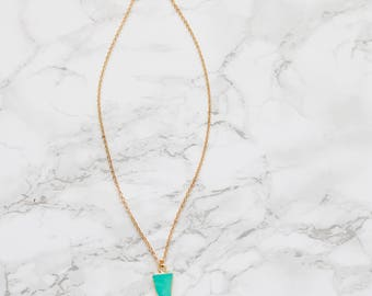 Turquoise Necklace - Triangle Pendant Necklace - Gold Turquoise Necklace-Turquoise Pendant-Dainty Necklace-Layering Necklace - Gifts for Her