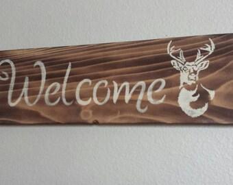 Pallet Welcome sign with Buck, Deer