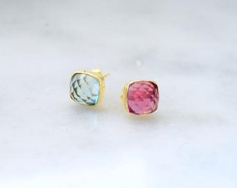 Topaz stud earrings, topaz earrings, stud earrings, gold stud earrings, lemon and pink topaz studs, topaz studded earrings, topaz jewelry