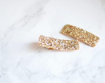 Set of 2 gold glitter hair clips | simple hair accessories for special occasions | gifts under 5