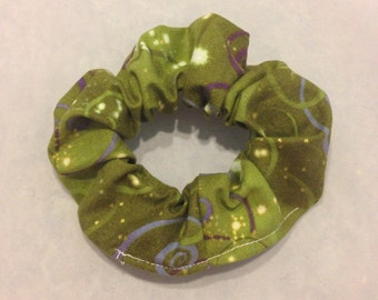 Green and gold swirl hair scrunchie/fabric hair tie