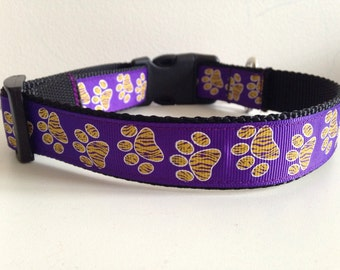 Purple with Gold Paw Prints LSU 1 inch Dog Collar